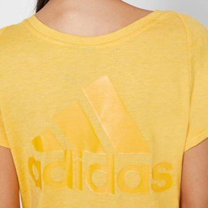 Adidas Yellow V-Neck T-shirt Size Medium Decal